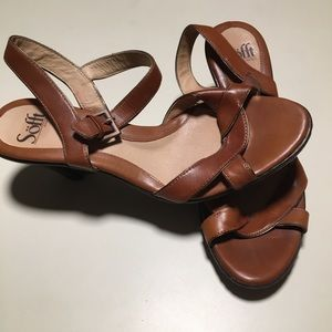 Sofft Wedge Sandals Leather 10M Ankle Strap